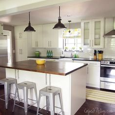 single wall kitchen with island via Remodelaholic.com This is practically our kitchen, well, I hope...