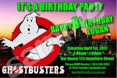 GHOSTBUSTERS 4X6 INVITATIONS WITH ENVELOPES