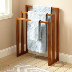 Freestanding Wooden Three Tiered Towel Rack For Bathroom