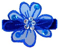 "#skincare 1-3/4"" Embroidered organza flower with sequins. Partially lined in Swiss velvet ribbon, with a #unique non-slip #grip for secure hold."