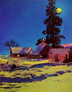 Maxfield Parrish Moonlit Night_ Winter painting for sale - Maxfield Parrish Moonlit Night_ Winter is handmade art reproduction; You can shop Maxfield Parrish Moonlit Night_ Winter painting on canvas or frame. Nocturne, American Illustration, Illustration Art, Landscape Art, Landscape Paintings, Maxfield Parrish, Kunst Online, Richard Diebenkorn, Winter Painting