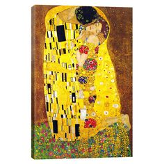 Evoke symbolist style in your living room or office with this gorgeous canvas print, showcasing a colorful reproduction of Gustav Klimt's The Kiss ...