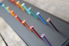 CUSTOM. WALLFLOWER RACK. Handmade Wooden Jewelry Holder with Handpainted Nail Hooks (size large)