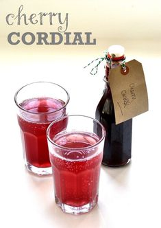 This deliciously summery cherry cordial is a doddle to make using frozen cherries, and is perfect with sparkling water (or even a cheeky vodka! Craft Cocktails, Cocktail Drinks, Cordial Recipe, Cherry Cordial Drink Recipe, Frozen Cherries, Homemade Wine, Wine And Liquor, Non Alcoholic, Alcohol Free