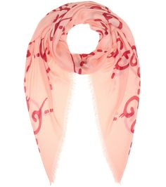 Gucci - Printed scarf - Gucci's scarf, crafted in Italy, comes in a vibrant pink hue to match the brand's aesthetic. Spun with a hint of silk for extra softness, this style features a graffiti-style GG print from the designer's collaboration with artist Trouble Andrew. seen @ www.mytheresa.com