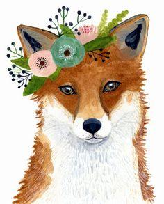 Watercolor fox Woodland Nursery Art Animal Paintings by zuhalkanar Art Fox, Fuchs Illustration, Fox Painting, Crown Painting, Watercolor Fox, Forest Friends, Animal Paintings, Nursery Art, Oeuvre D'art