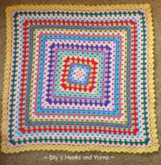 Why crochet a bunch of little squares when you can crochet one big one! The Big Granny Baby Blankie will have you put your granny square crochet skills to work and soon you'll have a bright and fun crochet baby blanket.