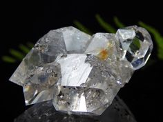 Herkimer Diamond Crystal Cluster w/ Moving Anthraxolite, RARE Natural NY Mineral