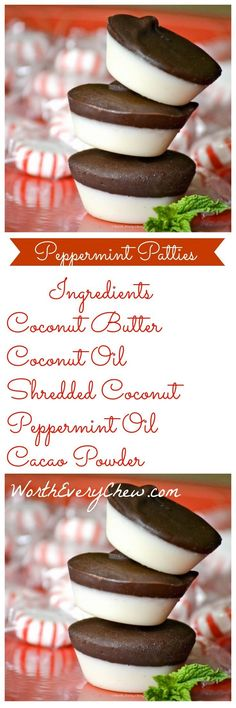 Paleo/Keto Peppermint Patties - These make the perfect fat bomb and a great low carb high fat answer to your sweet tooth. A crisp, sweet satisfying recipe that is Worth Every Chew ! Low Carb Sweets, Paleo Dessert, Low Carb Desserts, Healthy Desserts, Low Carb Recipes, Whole Food Recipes, Dessert Recipes, Cooking Recipes, Healthy Fats