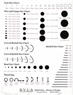 Ear piercing types and styles pinterest gauges piercings and chart piercing size chart mesuring wire gauge lenght thickness gem and curved barbell greentooth Images