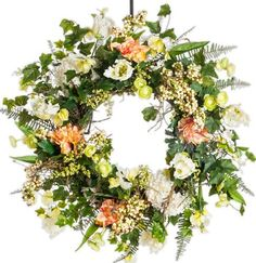 """Parrot Tulip and Ranuculus Wreath - 28 Inch by Darby Creek Trading. $179.00. All Natural Grapevine Base with Silk Floral. Variety of spring and summer floral. Made-to-Order Designer Series 28"""" Silk Wreath. Perfect for front door, wall or over a mantel. Perfect indoor or outdoor use. This 28"""" wreath starts with an all natural grape vine base and decorated with a variety of spring and summer flowers including parrot tulips, ranuculus, apricot dahlia, summer berries and lot... Dried Flower Arrangements, Dried Flowers, Summer Flowers, Pink Flowers, Everyday Holidays, Parrot Tulips, Summer Berries, Door Wall, Holiday Wreaths"""