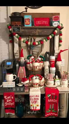 Christmas elf theme coffee bar! ❤️ #raedunn #farmhouse #coffeebar