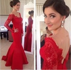 $139--New Arrival Prom Dresses Lace Long Sleeves Red Sheer Chiffon V-neck Backless Floor Length Evening Gowns