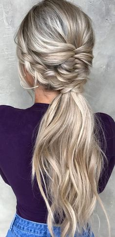 favorite wedding hairstyles long hair ponytail with french braids taylor_lamb_ha. favorite wedding hairstyles long hair ponytail with french braids Teen Hairstyles, Wedding Hairstyles For Long Hair, Wedding Hair And Makeup, Hair Makeup, Hairstyles 2018, Ponytail Wedding Hair, French Hairstyles, Natural Hairstyles, Ponytail Hairstyles For Prom