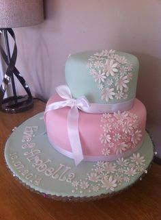 Girls joint christening cake