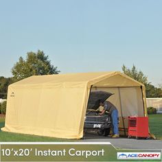 Get America's most popular portable garage shelter: the Carport AutoShelter 10x20 Instant Garage. This easy-to-set up and high quality carport can be yours at a price you can afford. We recommend it for cars, seasonal vehicles, ATV's, equipment and bulk materials. Get Carport AutoShelter 10x20 Instant Garages today.    Carport AutoShelter 10x20 Instant Garage   Weighs 134.6 pounds  Size: 10 ft. x 20 ft. x 8 ft.  Easy-to-follow instructions included  Frame - all steel...