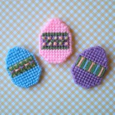 """Plastic Canvas: Mini Easter Egg Magnets (set of 3) -- """"Ready, Set, Sew!"""" by Evie"""