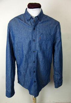 Levis Long Sleeved Navy Shirt Vintage Slim Fit Size Large