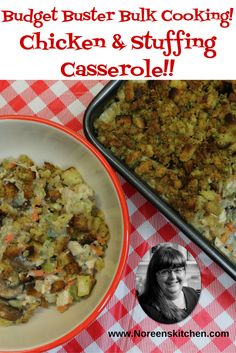 Chicken and Stuffing Casserole Bulk Cooking, Cooking Recipes, Stuffing Casserole, Southern Comfort, Rotisserie Chicken, Freezer Meals, How To Cook Chicken, Great Recipes, Chicken Recipes