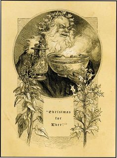 Old Christmas with the Bowl and Holly, 1879, by John Gilbert
