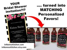 Create favors that match your Save the Date or Party Invitation  This listing is for a set of 12 Personalized favors - your choice of Sauce - matching personalized label  Unique gourmet favor for your guests to take and enjoy at home! These favors can also double as creative table decoration, or table settings.  At Checkout please write your personalization: Name Date and please send me a photo, link, or file with your invitation or save the date. I need to see what it looks like so I can…