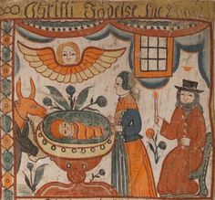 """Painted """"bonad"""", or wall-hanging, is painted onto hand-woven hemp and linen and depicts, in stylised naive Swedish country settings and costume, the annunciation, the NATIVITY, Joseph's visitation and the flight into Egypt. Early 19th century c. 1830"""