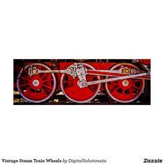 Vintage Steam Train Wheels Poster