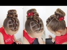 Bun hairstyle for little girls / Updo hairstyles Little Girl Updo, Little Girl Short Hairstyles, Cool Hairstyles For Girls, Easy Hairstyles For School, Baby Girl Hairstyles, Bun Hairstyles, Girls Updo, Easy And Beautiful Hairstyles, Elegant Hairstyles