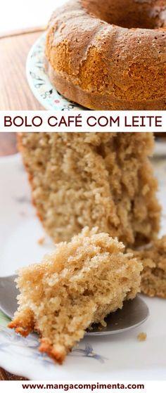 Bolo Café com Leite   Para servir no Café da Manhã ou no Lanche da Tarde! Other Recipes, Sweet Recipes, Cake Recipes, Dessert Recipes, Cupcakes, Cupcake Cakes, Trifle, Brazillian Food, Gateaux Cake
