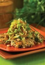 Vegan Sauteed Slivered Brussels Sprouts Over Wild Rice Cakes | Robert Rose