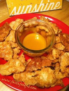 Chicken Nuggets with Honey Mustard: Clean Eating Recipes www.faithfoodfit.com