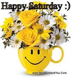 Make someone smile with this bright yellow happy face mug filled with cheery fresh flowers! A great way to say happy birthday, cheer up, thanks, you make me happy, or feel better soon. Happy Saturday, Happy Day, Happy June, Saturday Quotes, Emoji Cara Feliz, Cheer Someone Up, Send Flowers Online, Daisy, Face Mug
