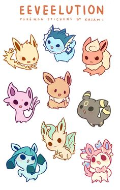 One self cut sticker sheet featuring eevee and all of its evolutions!
