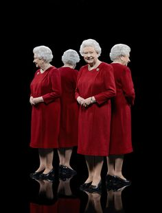 royalwatcher:  British Royals photographed by Hugo Rittson-Thomas using mirrors to produce a multi-sided photo-Queen Elizabeth II in a burgundy dress by Angela Kelly and wearing the Waterloo Bridge of the Royal Scots Dragoon Guards, taken to mark the 60th anniversary of her Colonelcy of the Guards, 2013