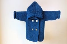 Hand Knitted Baby Hoodie with Pixie Hood / Knit Baby Peacoat Jacket / Knitted Baby Cardigan / Knit Baby Jacket with wooden square buttons by RocoKnitwear on Etsy