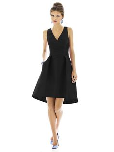 A flattering V-neck cocktail dress with matching belt at the natural waist. The pleated A-line skirt has pockets at side seams and is finished with a slight high-low hem. Made of dupioni. Hidden zipper in back. #black #bridesmaid #wedding