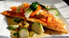 pescado del dia - red snapper · brussel sprouts · summer squash · sweet corn-serrano cream sauce · carrot-chayote escabeche