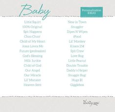 Baby - Personalization Ideas for Thirty-One