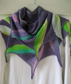 purple  knitted shawl multi color feathers by DutchDaisyDesign, $89.50