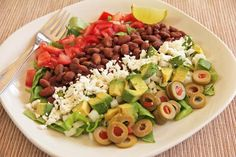 Composed Spicy Bean Salad Recipe from MJ's Kitchen Bean Salad Recipes, Veggie Recipes, Whole Food Recipes, Healthy Recipes, Easy Salads, Healthy Salads, Healthy Eating, Summer Salads, Healthy Food