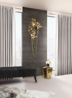 AMAZING MCQUEEN WALL LAMP | Made of brass with gold plated and handmade butterflies and majestic flowers, the McQueen wall ends with the touch of beautiful Swarovski Crystals. A master piece that causes a dramatic and eccentric sensation of beauty in every room interior | bocadolobo.com/#modernentryway#entrywayideas