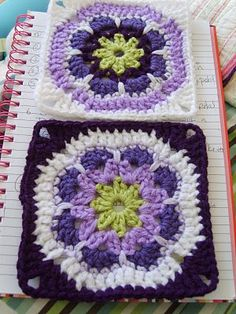 African flower square tutorial; Interesting concept of the colors having therapeutic properties, links to a color site that explains what the colors mean