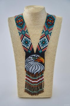 MADE TO ORDER Eagle beadwork necklace Ethnic long beaded gerdan Long boho colorful animal necklace Seed bead folk necklace Eagle as a gift Native Beading Patterns, Beadwork Designs, Bead Loom Patterns, Peyote Patterns, Jewelry Patterns, Indian Beadwork, Native Beadwork, Native American Beadwork, Fox Jewelry