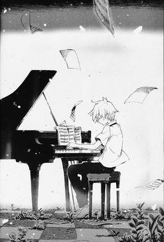 Anime boy playing piano sheet music