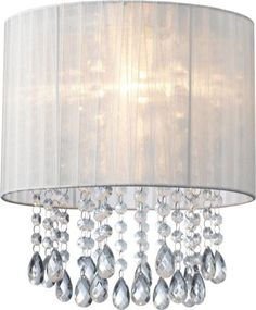 White-Organza-amp-Hanging-Beaded-Ceiling-Lampshade