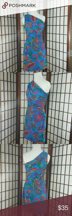 One Shoulder Draped LAUREN RALF LAUREN DRESS Sz 2 DESCRIPTION: One Shoulder dress, Draped style, bright floral, multicolor, made of polyester and Spandex, this is a pre-owned dress no stains , tears and pilings. (gently worn ) Lauren Ralph Lauren Dresses One Shoulder