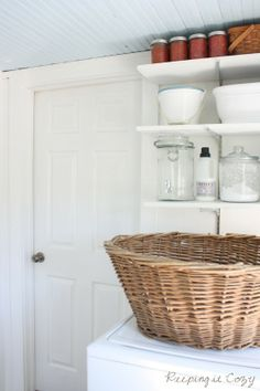 light and bright with a pale blue ceiling | Keeping It Cozy: The Laundry Room