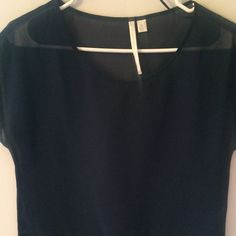 LC Lauren Conrad Navy Blue Blouse Size XS Details: cropped tee, sheer, designed bottom LC Lauren Conrad Tops Blouses
