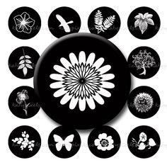 Black & White Nature - printable graphic designs for jewelry, etc.