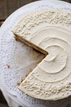Holiday Spice Cake with Eggnog Buttercream. The cake itself is a perfectly moist (there's that word again), not too light, but not too dense cake with a nice crumb. The cake is infused with lots of rich winter spices and molasses to basically make it like a gingerbread cake.